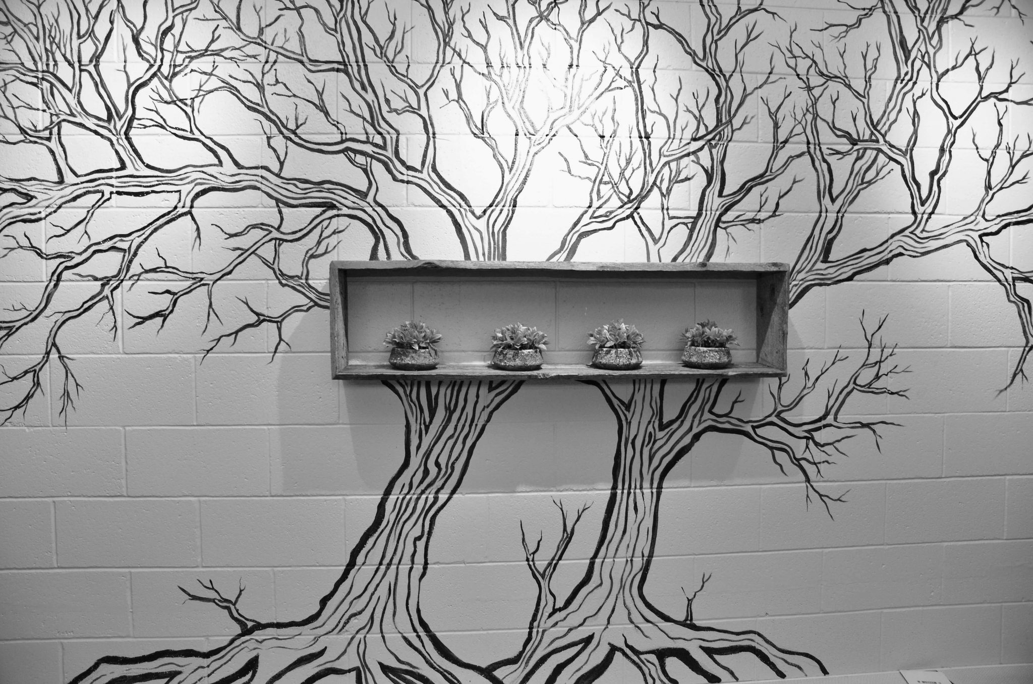 Hand painted tree on wall of office kitchen