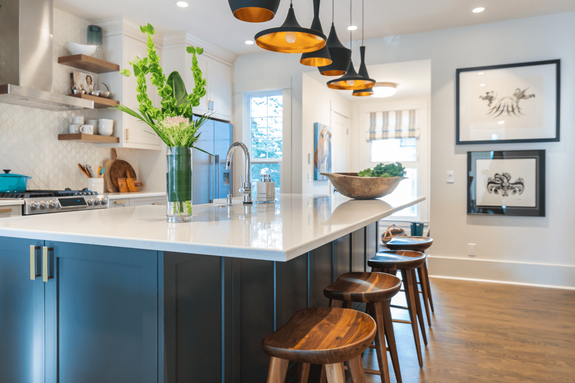 Stephanie Charest Portfolio - Completed modern kitchen with bar stools